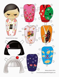 Kokeshi Dolls Clip Art, Japanese Dolls Clipart, Wooden Dolls.