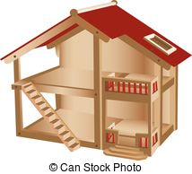 Clip Art Vector of Wood doll house.