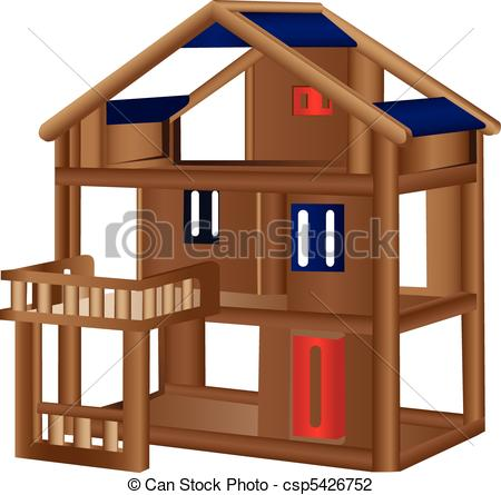Vector Illustration of Wood doll house.