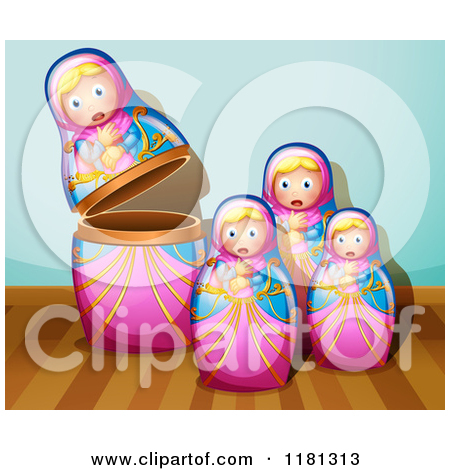 Cartoon of a Nesting Doll Background with Hanging Signs over Wood.