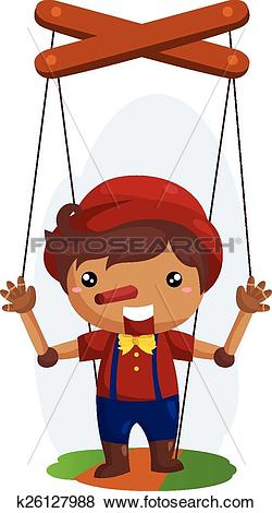 Clip Art of Wood Doll k26127988.