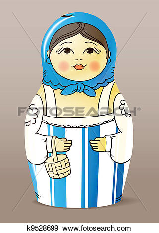 Clip Art of varnished wood doll. Matrioska k9528699.