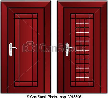 EPS Vectors of vector luxury mahogany wooden door csp13915596.