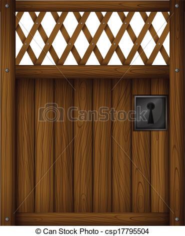 Vector Clipart of A wooden gate door.