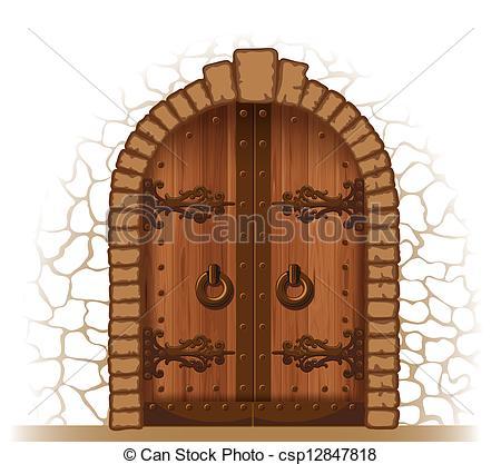 Vector Clip Art of Wooden door.