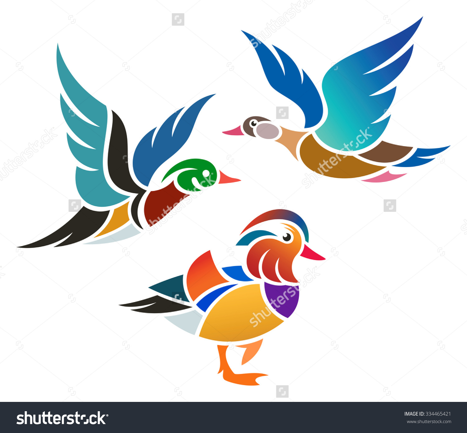 Stylized Ducks Wood Duck Mandarin Duck Stock Vector 334465421.