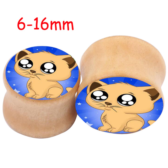 Aliexpress.com : Buy 2pcs Saddle Wood Ear Plug Punk Love Cute Dog.