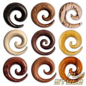 SPIRAL STRETCHER WOOD ear plug taper gauge tunnel organic tribal.