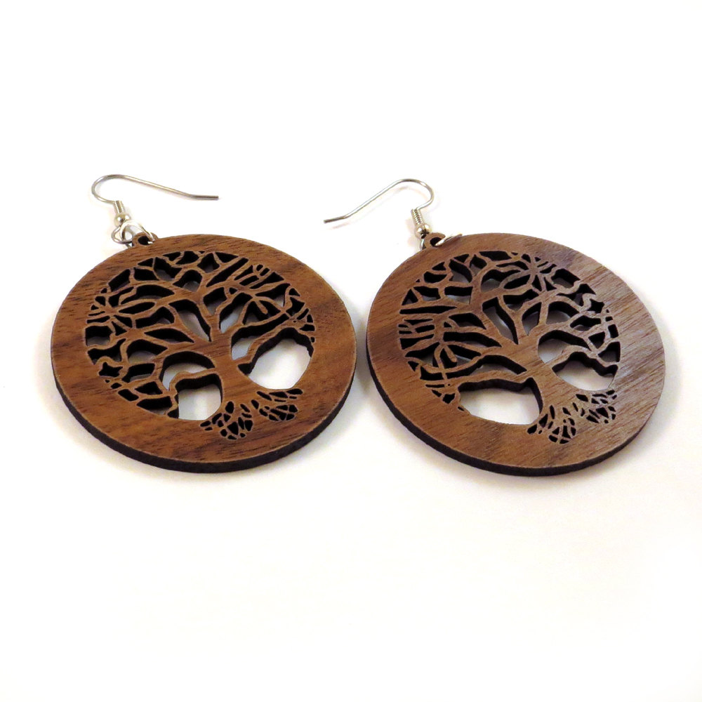 Wood earrings.