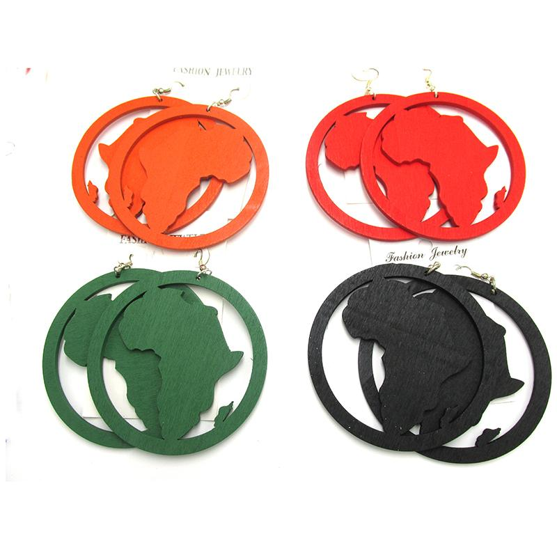 8cm Big Size Wooden African Wood Earrings Online with $9.06/Pair.
