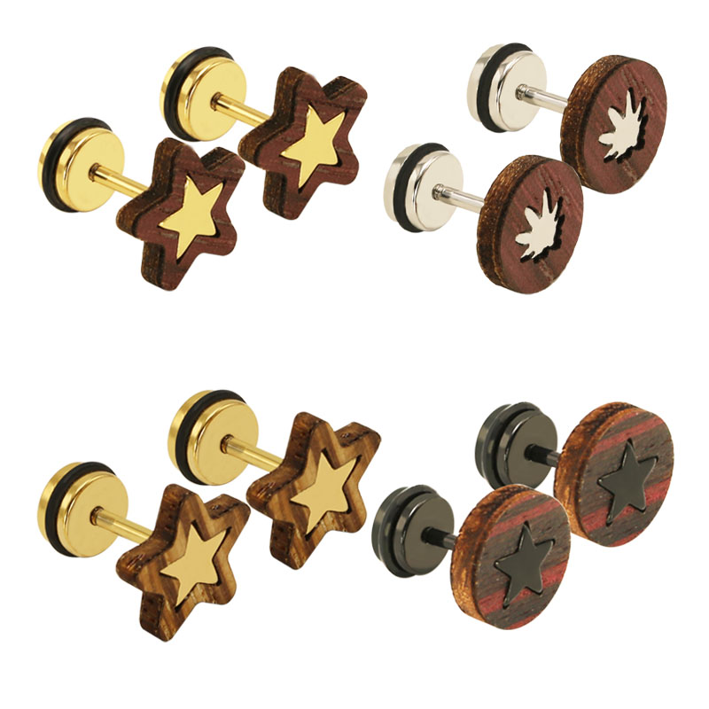 Popular Mens Wood Stud Earrings.