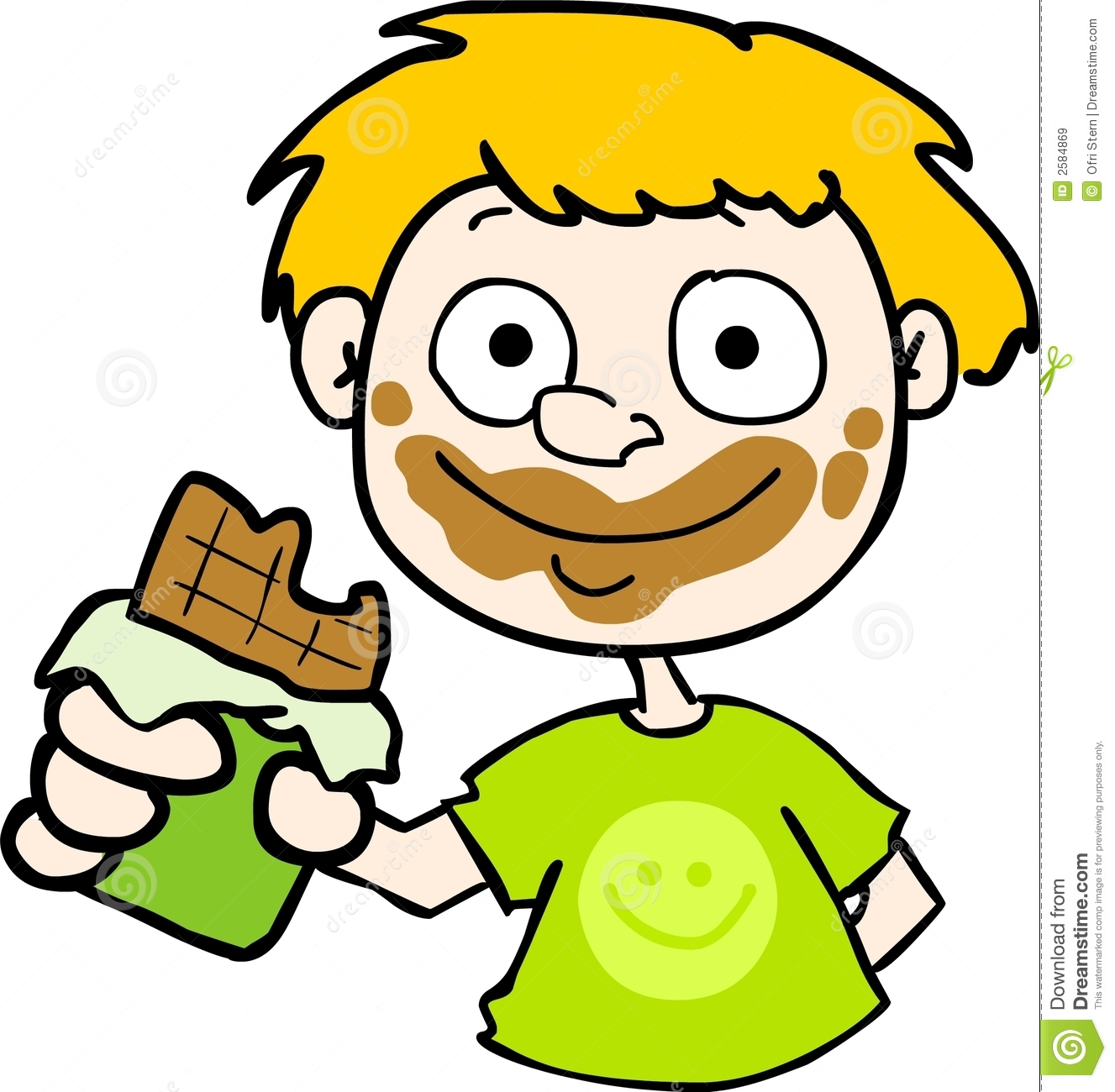 Messy Chocolate Face Clipart.