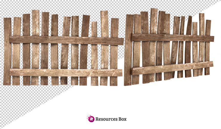 Wooden Fence PNG Stock.