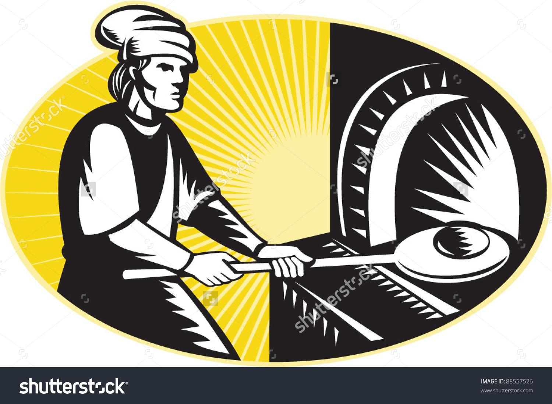 Vector Illustration Medieval Baker Baking Holding Stock Vector.