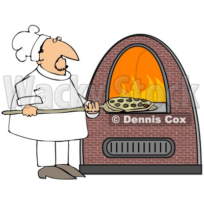 Illustration of a Chef Inserting A Pepperoni Pizza Into A Brick.