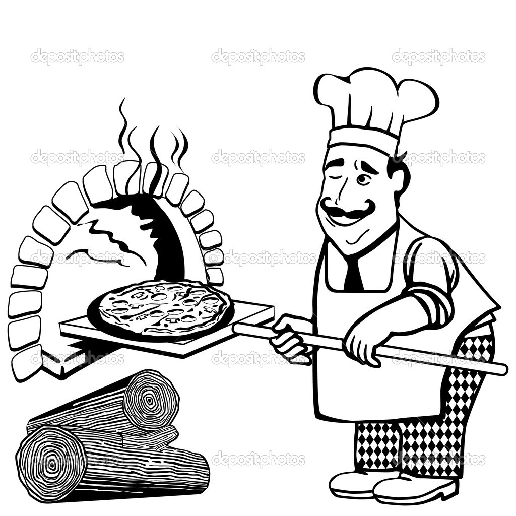 Vintage Pizza Oven Clipart.