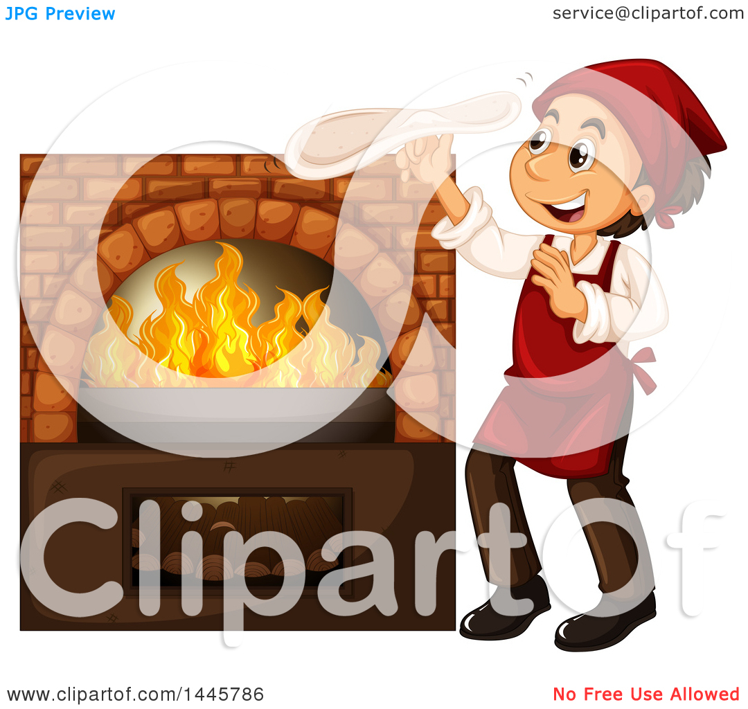 Clipart of a Happy Chef Hand Tossing Pizza Dough by a Wood Fired.