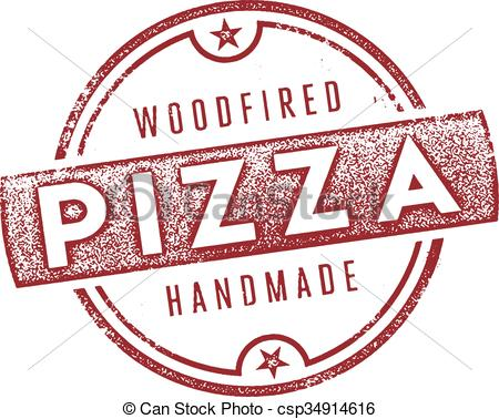 Vector Clip Art of Wood Fired Pizza Sign.