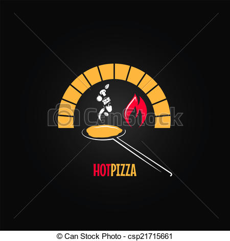 Clip Art Vector of pizza oven design background.