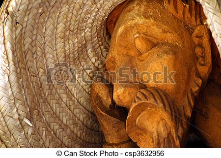 Stock Image of Man made of wood with a Hat.