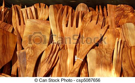 Stock Image of cutlery olive tree wood spanish traditional.