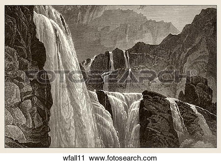 Clipart of Antique Wood Engraving of a Dramatic View of a.