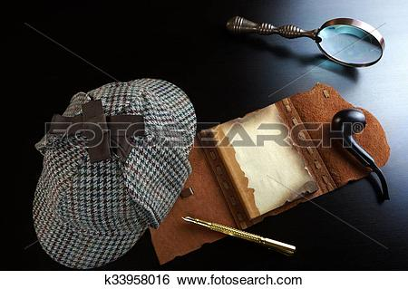 Stock Images of Sherlock Holmes Concept. Private Detective Tools.