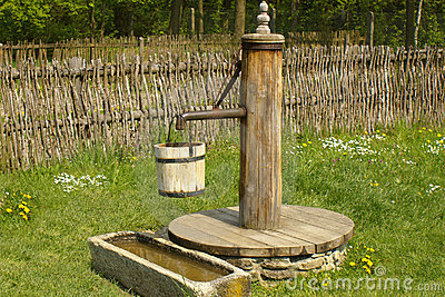 Old water pump clipart.
