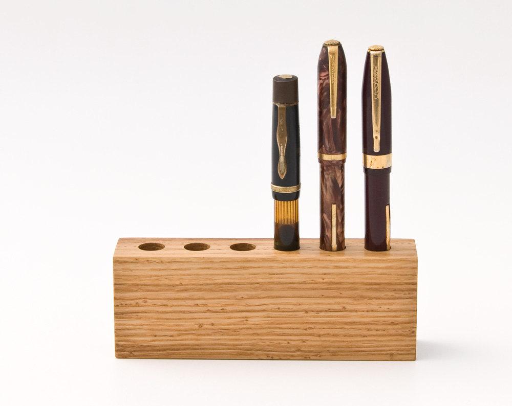 Wood Pen Holder Fountain Pen Holder Desk Organizer by lessandmore.