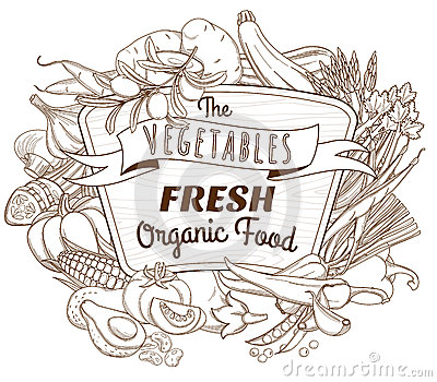 Outline Hand Drawn Sketch Vegetable Wooden Frame (flat Style, Th.