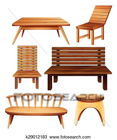Wooden furniture Clipart.