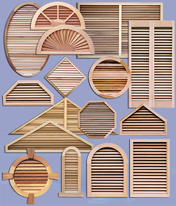Western Red Cedar Gable Vents and Decorative Shutters made in Canada.