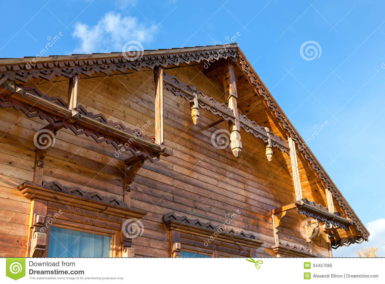 Detail Of Wooden Roof Gable Royalty Free Stock Photo.