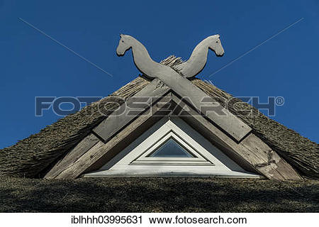 """Stock Photography of """"Typical wooden gable of a thatched roof."""