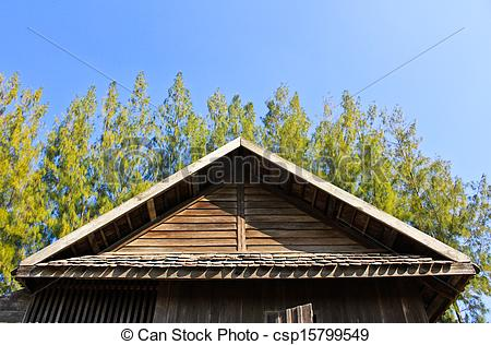 Stock Photo of Details of Southern Thai house Gable roof.