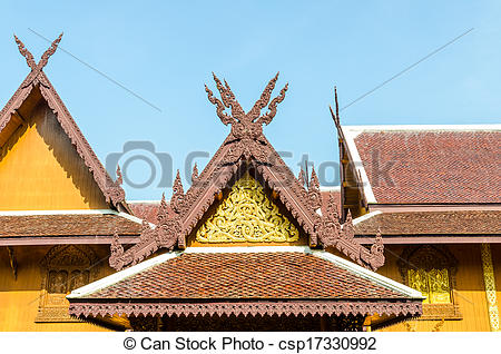 Stock Photographs of Wood gable roof on Thai temple csp17330992.