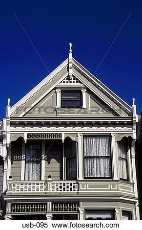 Stock Image of Gable of Old Wooden Town House San Francisco USA.
