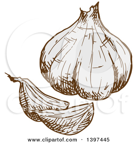 Clipart of a Seamless Black and White Garlic Background Pattern.