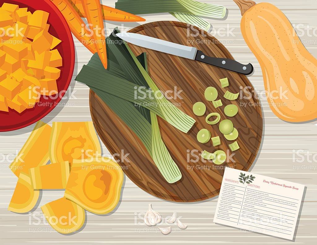 Food Cooking Flat Lay On A Wood Background stock vector art.