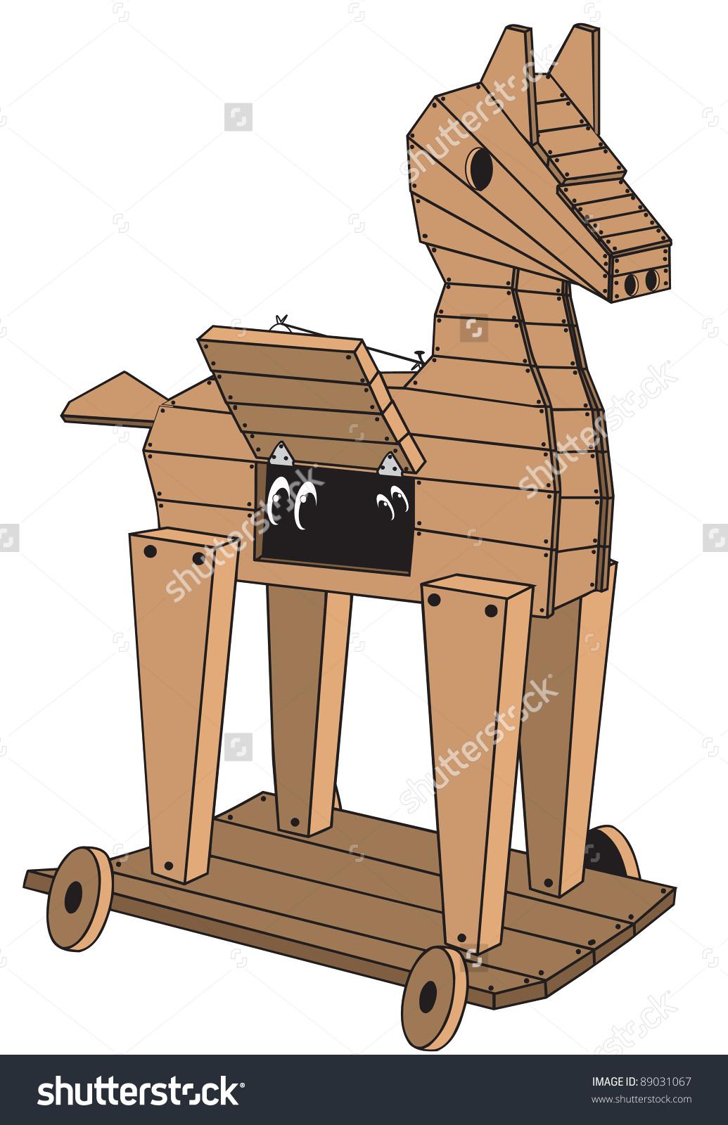 Cartoon Art Wooden Trojan Horse On Stock Vector 89031067.