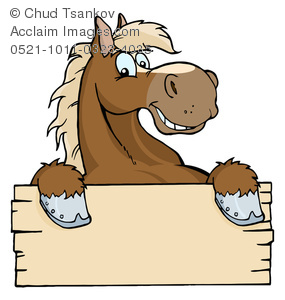 Clipart Image of A Brown Cartoon Horse Holding Up a Piece of Wood.