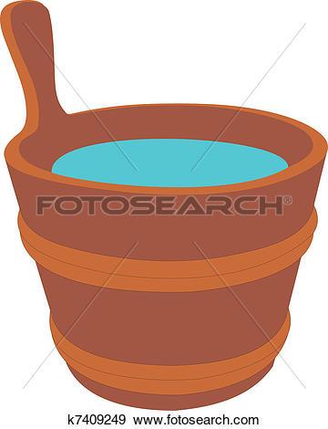 Clipart of Wood bucket full new potatoes k12848495.
