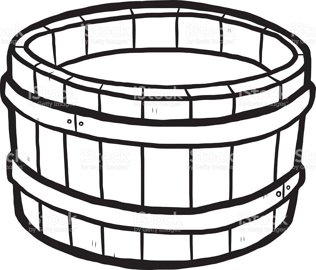 Wooden Bucket And Water stock vector art 524687967.