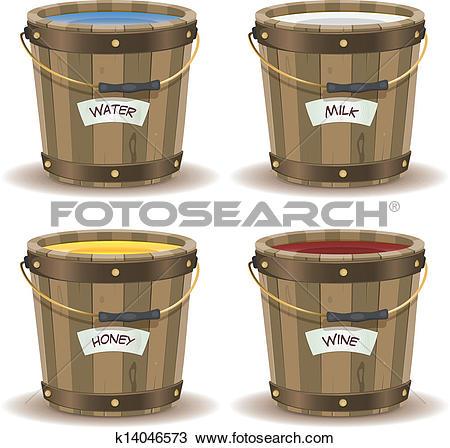 Clipart of Water, Milk, Honey And Wine Inside Wood Bucket.