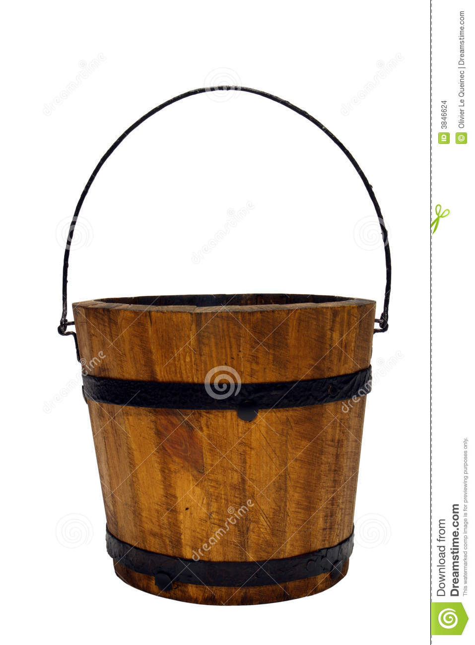 Old Wood Water Bucket With Handle Isolated Stock Images.