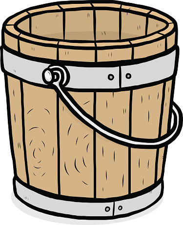 Wooden bucket with water clipart.