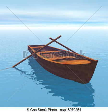 Small wooden boat on the water clipart.