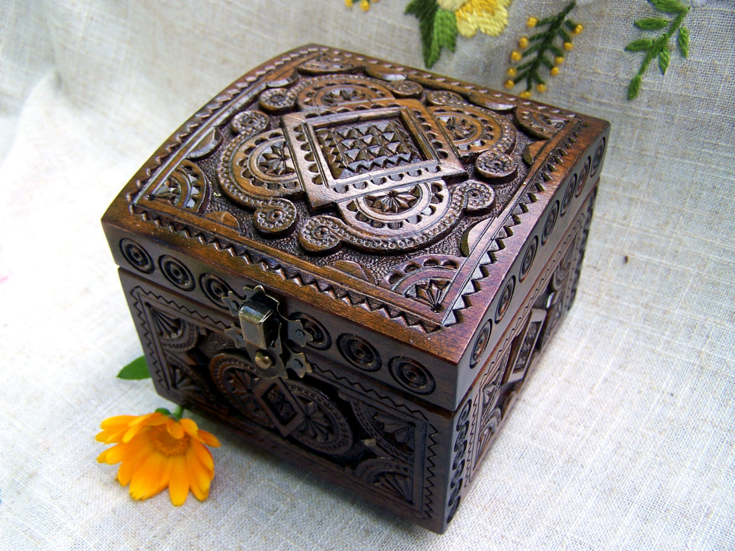Wooden Box Carved Clipart.