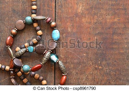 Stock Photography of Costume Jewelry On Wood.