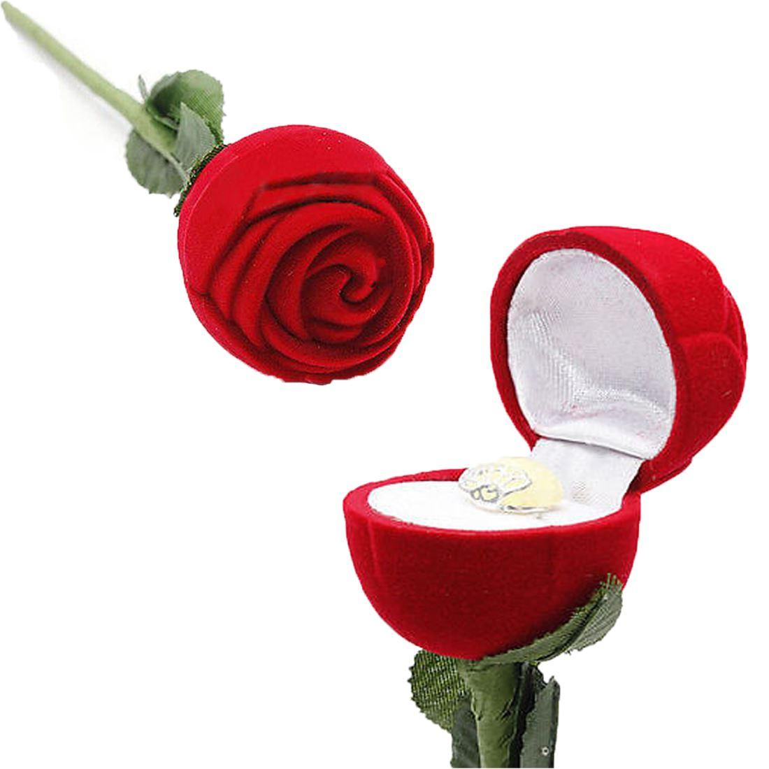 Online Cheap New Elegant Fashion Red Rose Flower Jewelry Gift Ring.